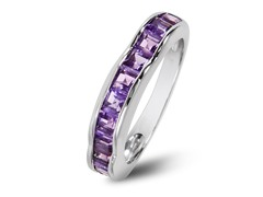 SS Square Cut Amethyst Wave Band