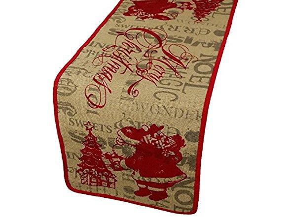 Xia Home Fashions Saint Nick Printed Burlap Christmas Table