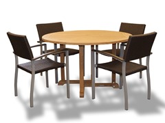 42-Inch Table, 4 Silver Armchairs