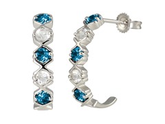 SS Swiss Blue Topaz & White Topaz J Hoop Earrings