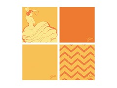 Fiesta Orange Dancing Chevrons Coasters