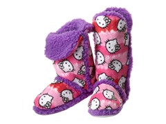 Hello Kitty Junior's Tall Sherpa Trim Slipper Bootie, Pink