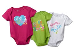 """Girls Rule"" Bodysuit 3-Pack (3-6M)"