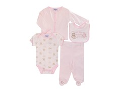 Pink Bear 4-Pc Cardigan Layette (0-9M)