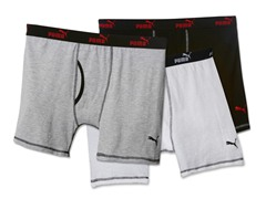 Puma Boxer Briefs, Wht/Grey/Blk 3pk (XL)