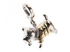 14Kt Gold, SS, Diamond Dog Charm
