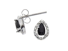 Sterling Silver Black Sapphire Gemstone w/Diamond Studs