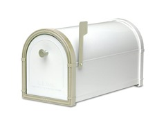 Bellevue Mailbox, White with White Bronze