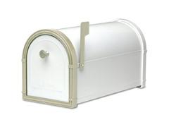 Bellevue Mailbox, White with White Bronze