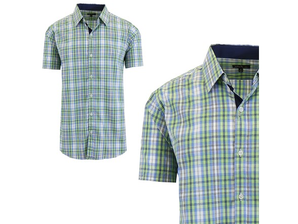 cd47caf2a GBH Men's Short Sleeve Plaid Dress Shirt