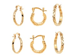 Gold Set of 3 Textured Hoop Earrings