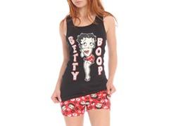 Betty Boop Short Sleep Set, Black / Red Print