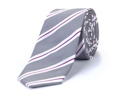 100% Silk Men's Tie, Grey/Red Stripes