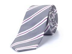 100% Silk Men's Tie, Grey/Red Stripes