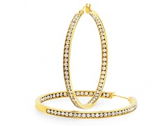 18kt Gold Plated Hoop Earrings w/ Accent