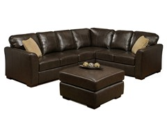 Florence Italian Leather Sectional w/Ottoman