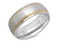 SS Band Ring w/ 18kt Gold Line Accent