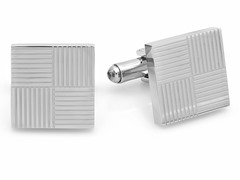 Stainless Steel Cufflinks w/ Lines