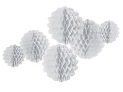 6pk Honeycomb Tissue Poms - White