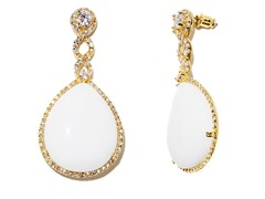 18kt Plated Synthetic Wht Agate Earrings