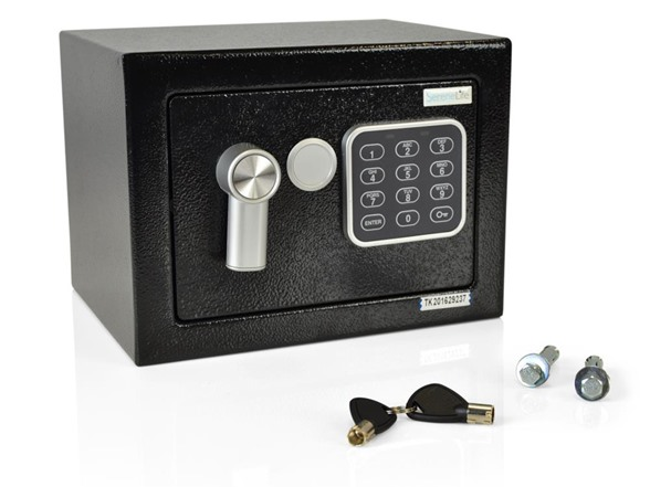 Compact Electronic Safe Box with Mechanical Override WT139099A