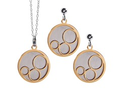 2-Flat Layered Round Earrings & Pendant