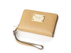 iPhone Saffiano Leather Zip Wallet, Tan