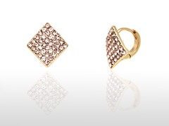 Rose Swarovski Elements Diamond Huggie Earrings