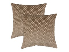 Venture Diamond Mocha Flocked Self Pillow: Set of 2