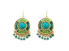 Gold-Plated & Glass Bead Dangling Earrings - Green