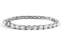 Fancy White Gold Plated 13CTTW Oval Cut Tennis Bracelet