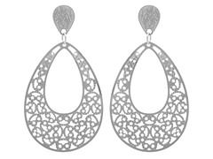 Stainless Steel Filigree Drop Earrings