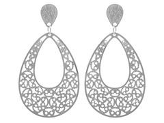 Stainless Steel Filigree Drop Earrings