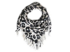Kitara  Big Animal Print Scarf White & Black