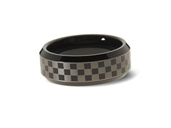 Tungsten Two-Tone Checkboard Ring
