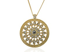 Riccova Country Chic 14K Gold Pl Crys Medallion Pendant Necklace