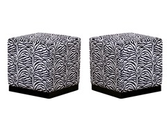 Zebra Safari Cube Ottoman Set of 2