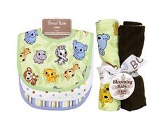 Trend Lab Bib & Burp Cloth Set - Chibi Zoo