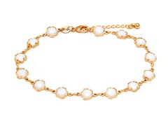 18K GP White Flower Anklet Bracelet