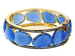 18K Gold-Plated SS Large Faceted Chalcedony Semi-Precious Gemstone Bangle