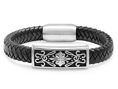 Men's Black Leather Bracelet w/ Filigree