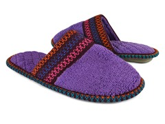 Muk Luks Cathy Micro Chenille Closed Toe Slippers, Purple