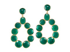 Gold-Plated SS Genuine Dyed Emerald Earrings