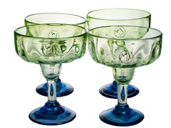 Luster Green Margarita Glasses - Set of 4