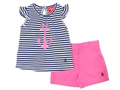 Navy & Pink Anchor 2-Pc Short (12M-4T)