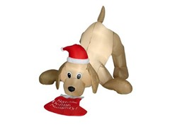 Animated Airblown Golden Retriever w/ Stocking