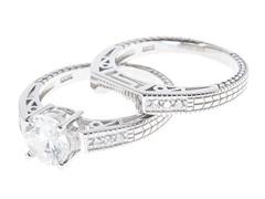 18kt White Gold Plated Engagement Set