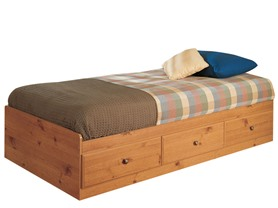 Mountain Pine Twin Size 3-Drawer Storage Bed