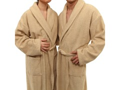 Unisex Herringbone Weave Bathrobe - Sand