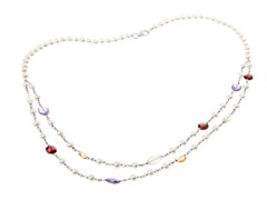 SS Pearl & Gemstone Station Necklace